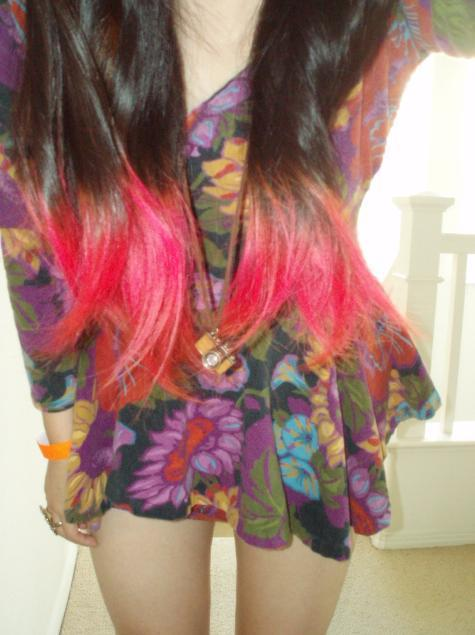 camera, cute, dress, flower dress, flowers, fuschia, girl, long hair, ombre hair, ombre pink, pink hair, skinny