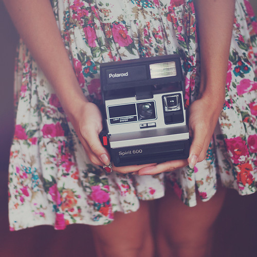 camera, cute, floral, photograph, polaroid