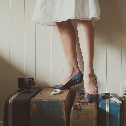camera, dress, fashion, girl, indie, photography, shoes, suitcase, vintage, woman