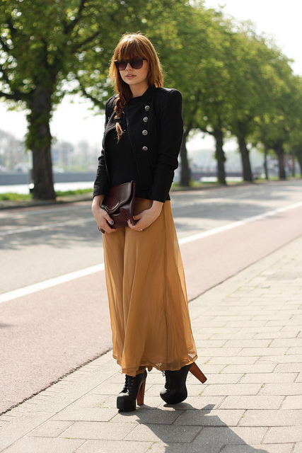 chiffon, clutch, fashion, girl, hair, jacket, jeffrey campbell, maxi, military jacket, mustard, photography, skirt