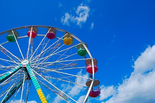 colorful, colors, ferris wheel, pretty, rainbow, sky