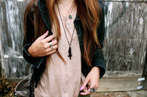 cross, fashion, girl, hair, leather