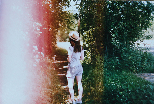 cute, fashion, girl, gray, green, grey, hat, leaves, light, nature, photography, pretty, red, separate with comma, shorts, style, summer, trees, trend
