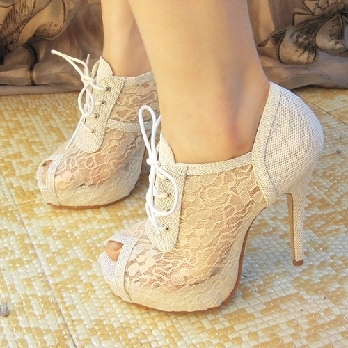 23369 cute fashion heart high heels shoes