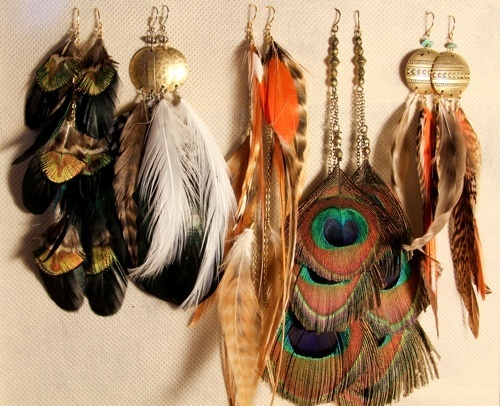 earrings, fashion, feathers, jorika, tribal