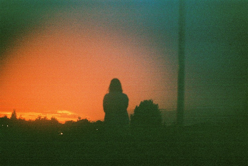 faceless, girl, shadow, sunset