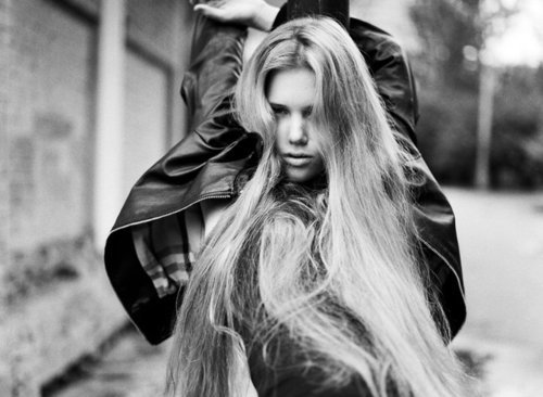 fashion, girl, hair, jacket, leather, long hair, model, pretty, style