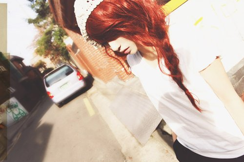 girl, pretty, red hair, separate with comma