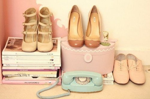 girly, magazines, pastels, phone, pretty, shoes
