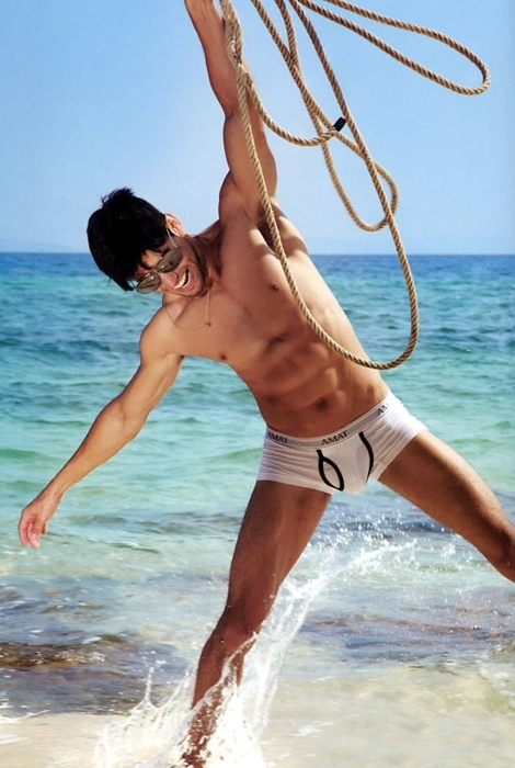 abs, beautiful, boy, briefs, bulge, cute, glasses, handsome, hot, light, male, man, muscle, muscles, photography, rope, sailor, sea, sexy, six pack, smile