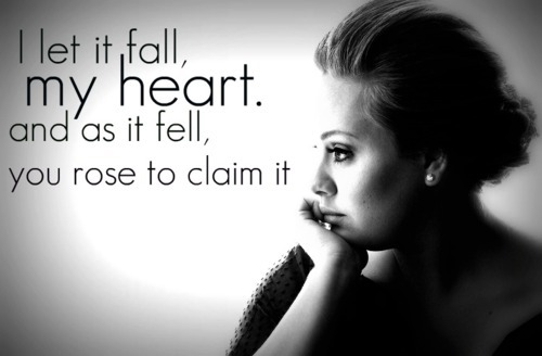 adele, black and grey, heart, love, lyrics