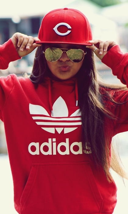 adidas, brunette, girl, hair, red - image #212282 on Favim.com: favim.com/image/212282