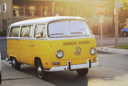 adorable, car, cute, photography, pretty, sun, van, yellow