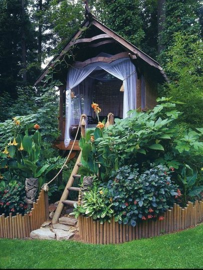adult fort, amazing, backyard, curtains, escape, fortress, green, ladder, lush, mesh, mosquito net, plants, play house, roope, tiki, wooden, yard