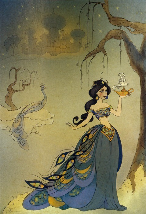 aladdin, art, beautiful, disney, illustration, jasmine, peacock, vintage