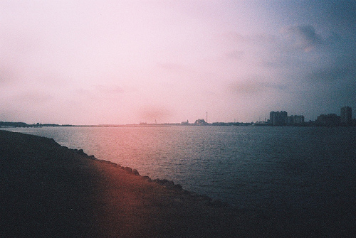 analog, beautiful, buldings, city, lake, ocean, sea, sky, water