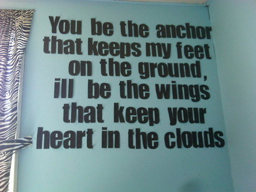 anchor, clouds, feet, ground, heart, mayday parade, message, quote, saying, text, wall, wings, words