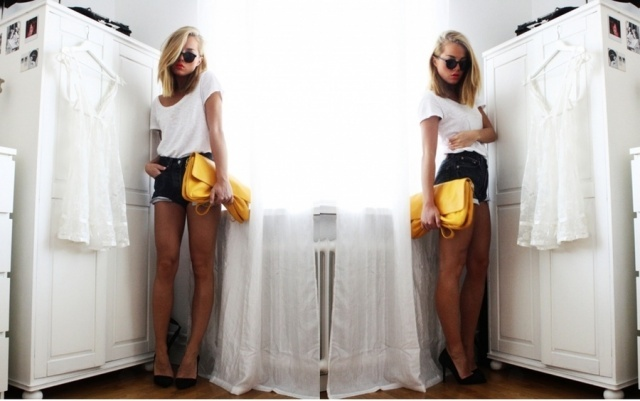 angelica blick, fashion, style, yellow