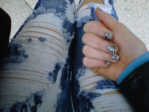 animal print, denim jeans, fashion, jeans, nails
