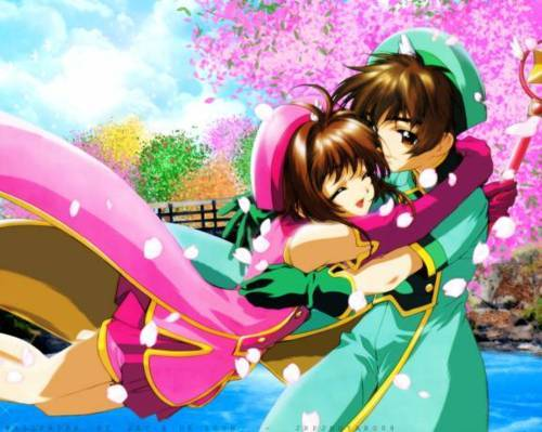 anime, card captor sakura, ccs, couple, cute, hug, pink, sakura, scc