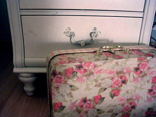 antique, flower, modern, pretty, suitcase
