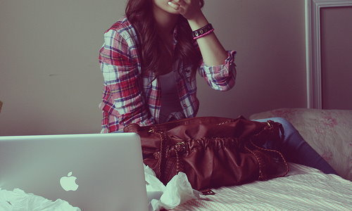 apple, bed, fashion, girl, laptop