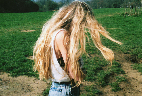 art, blonde, demin, girl, grass, green, hair, long hair, nature, photogaphy, picture, pretty, shirts, style