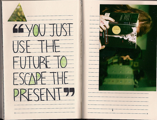 art, book, cute, fashion, future, girl, green, inmyownview, looking for alaska, photography, present, pretty, quote, style, text