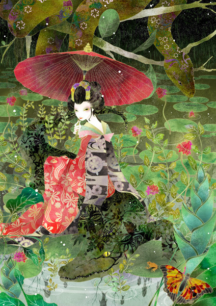 art, crocodile, fatnasy, forest, geiko