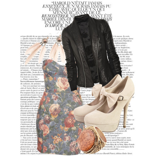 awesome, beautiful, bow, dress, fashion, floral, h&m, high heels, jewellery, jorika, leather jacket, polyvore, ring, style