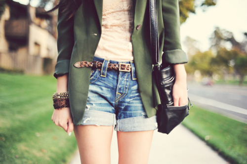 bag, belt, blazer, bracelet, denim, fashion, girl, shorts