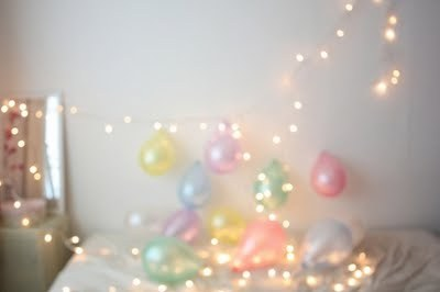 balloons, bed, lights, pastel, room
