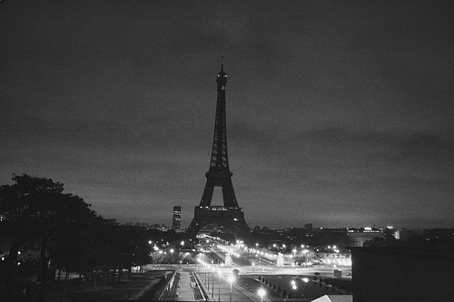Black and white eiffel tower france paris separate with comma
