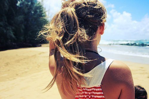 beach, blonde, fashion, girl, hair, sand, summer, tan, water, wave