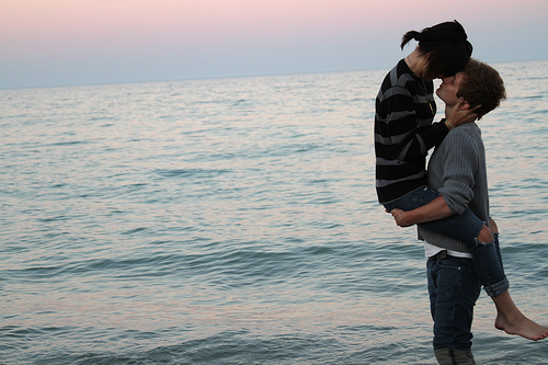 beach, couple, kiss, love