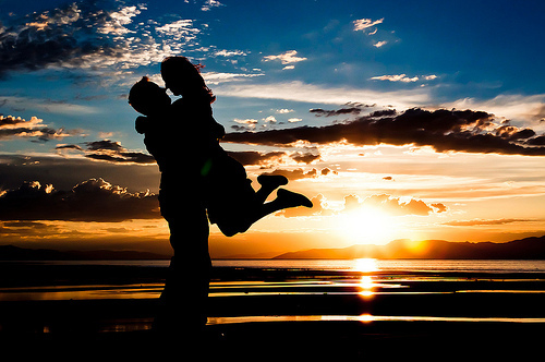 beach, couple, kiss, sunset, water