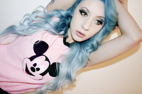 beautiful, blue hair, girl, mickey mouse, natasha lillipore
