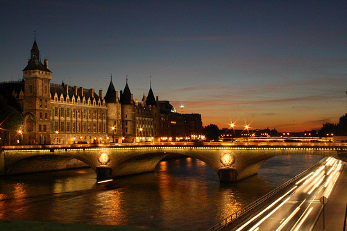 beautiful, bridge, city, clouds, france