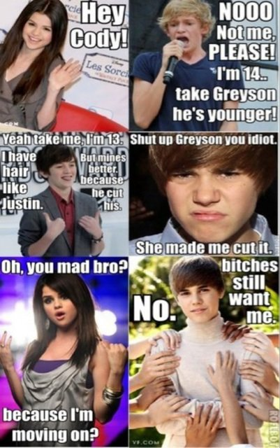 best, bitches, cody, funny, greyson chance, idiotic, jelena, justin bieber, kind of funny, not funny, really not funny, selena gomez, stupid, true