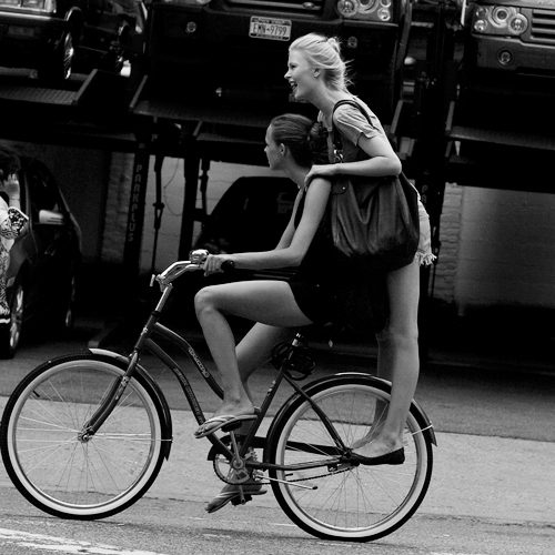 bike, black and white, fashion, friend, friends, friendship, girl, girls