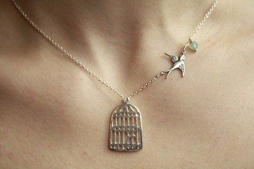 bird, birdcage, cage, fashion, necklace, ♥
