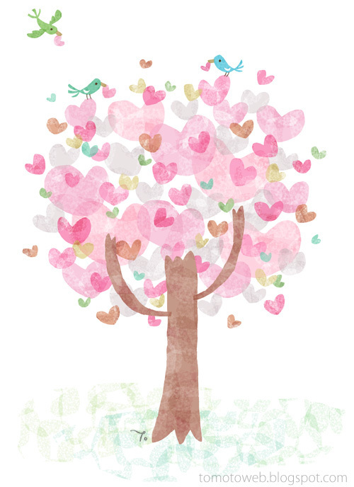 bird, birds, drawing, heart, hearts, love, tree