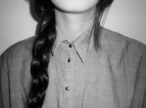 black and white, braid, brunette, collar, fashion, flannel, girl, hair, hairstyle, indie, long hair, plait, pretty, shirt, vintage