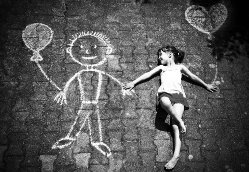 black and white, chalk, cute, drawing, hands, holding hands, little girl, separate with comma