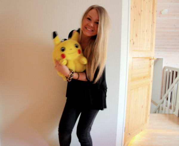 black, blonde, girl, hair, jewerly, love, pika, pikachu, pokemon, yellow
