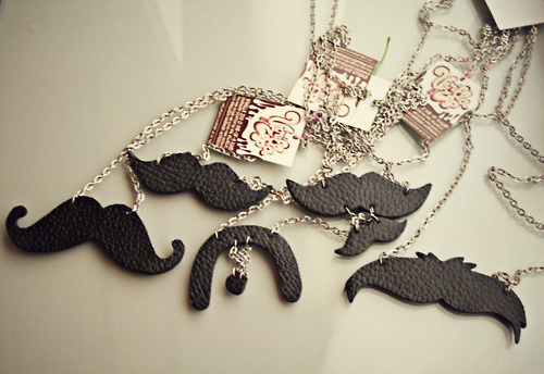black, chain, leather, moustache, necklace