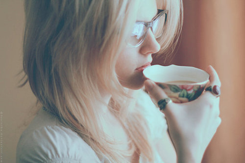 blonde, cup, delicate, drink, geek, girl, glasses, hand, pretty, ring, sweet, tea, vintage, woman