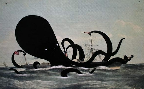 boat, cartoon, ink, octopus, sea