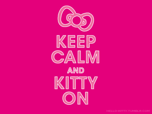 bow, cute, hello kitty, keep calm, kitty on, pink, typography