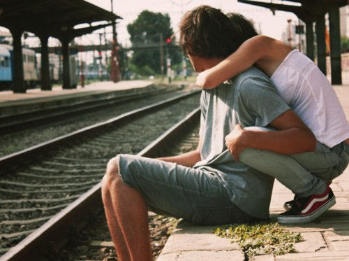boy, couple, girl, hug, love, station, teens, train, vans